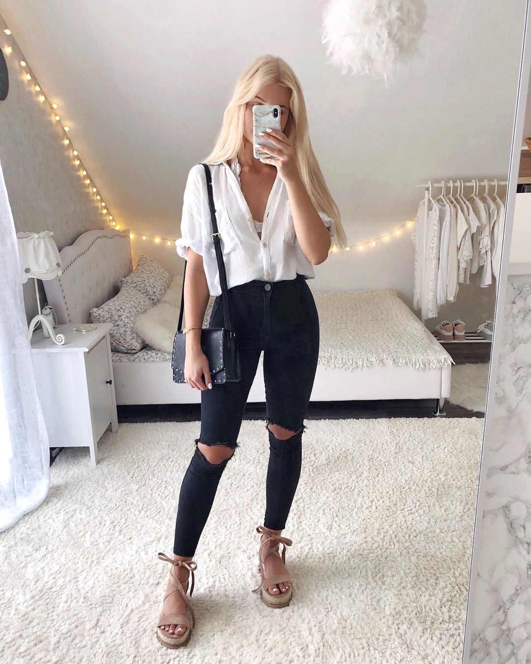 Outfit pantalones skinny negros
