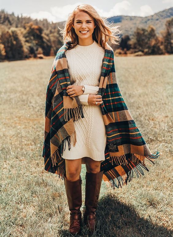 outfits con sweater dress y cardigan